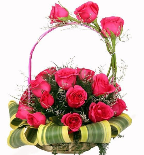 Round Basket of 20 Pink RosesFlowers Delivery in Jalahalli Bangalore