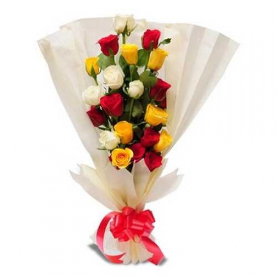 25 Mixed Color Roses BunchFlowers Delivery in Jalahalli Bangalore