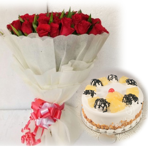 30 Red Roses With 500gm CakeFlowers Delivery in Jalahalli Bangalore