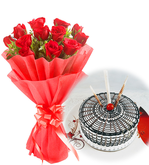 12 Red Roses with 500gm Butterscotch CakeFlowers Delivery in Jalahalli Bangalore