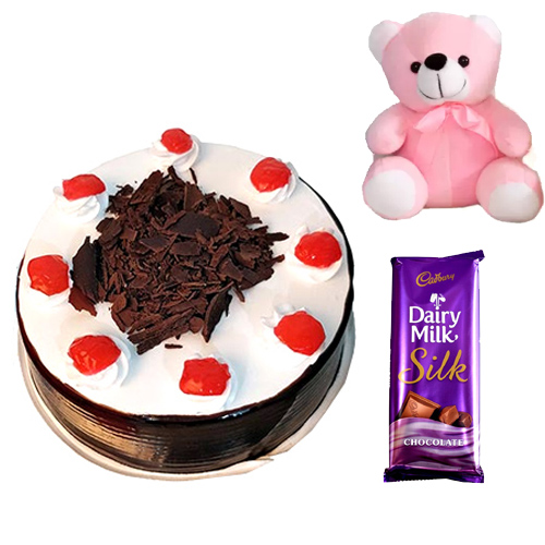 500gm Black Forest Cake with small Teddy & Dairy Milk SilkFlowers Delivery in Jalahalli Bangalore