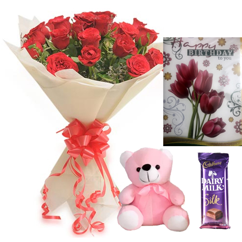 Roses with Teddy Chocolate and CardFlowers Delivery in Jalahalli Bangalore