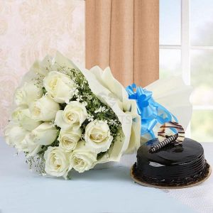 Bunch of White Roses & Truffle CakeFlowers Delivery in Cubban Road Bangalore