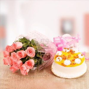 Pink Rose & Butter Scotch CakeFlowers Delivery in Cubban Road Bangalore