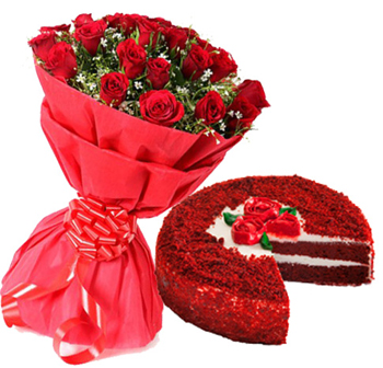 Red Velvet Cake & Red RosesFlowers Delivery in Cubban Road Bangalore