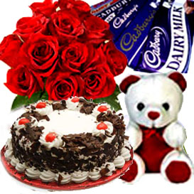 Bunch Roses, Cake, & Chocolate & Small TeddyFlowers Delivery in Jalahalli Bangalore