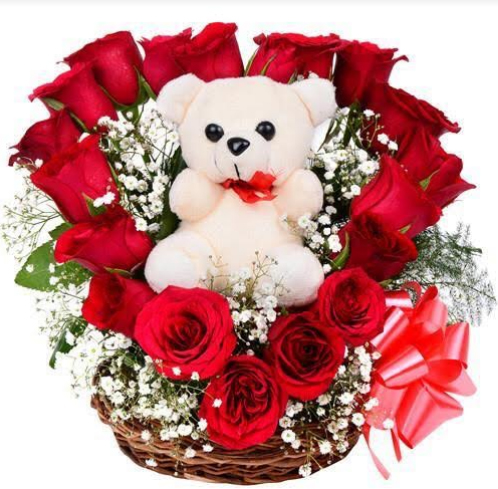 Basket of Red Roses with Teddy BearFlowers Delivery in Jalahalli Bangalore
