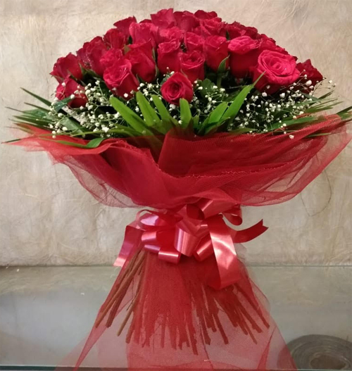 Bouquet of Red Rose in Net PackingFlowers Delivery in Jalahalli Bangalore