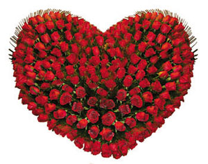 Heart Shape Arrangement of 100 Red RosesFlowers Delivery in Jalahalli Bangalore