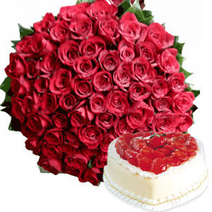 Bunch of 100 Red Roses & 1KG Strawberry CakeFlowers Delivery in Jalahalli Bangalore