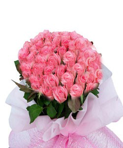 Bunch of 30 Pink Rose in Paper PackingFlowers Delivery in Jalahalli Bangalore