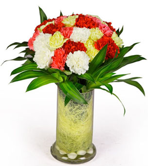 30 Mix Carnation in VaseFlowers Delivery in Cubban Road Bangalore