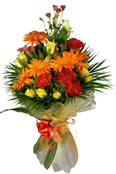 Bunch of 20 Roses & 15 Carnation & 15 Gerbera in Paper Packing Flowers Delivery in Cubban Road Bangalore