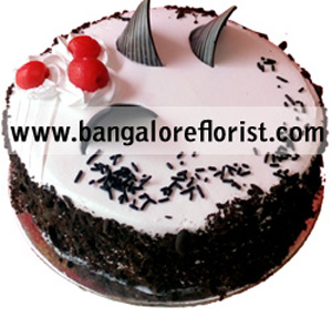 1 KG Black Forest Cake Flowers Delivery in Jalahalli Bangalore