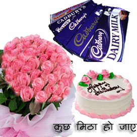 25 Pink Roses Bunch & 1/2 kg Pineapple Cake & 10 Small Dairy Milk ChocolatesFlowers Delivery in Jalahalli Bangalore
