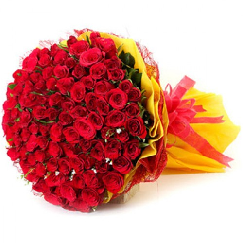 Bunch of 100 Red Roses in Paper Packingsend-flower-Kamagondanahalli