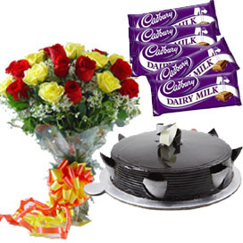 12 Mix Roses Bunch 1 2 Kg Black Forest Cake 5 Dairy Milk