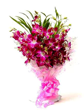 Bunch of 10 Purple Orchidssend-flower-Visveswarapuram