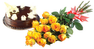 Bunch of 15 Yellow Roses & 1kg Chocolate Cake
