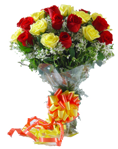 Bunch of 2 Dozen Red & Yellow Rosessend-flower-Kamagondanahalli