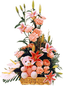 Arrangement of 4 Lilys & 15 carnations with cute teddy
