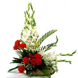 Arrangement of 10 Red Carnation and 10 white Gladssend-flower-Kamagondanahalli