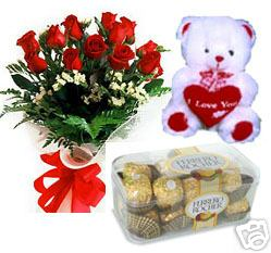 Bunch of 15 Red Rose & Small Teddy with 16 Pec Rocher Chocolate send-flower-Kamakshipalya