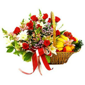 3 kg Fruits with 18 Red Rose & 2 Lilys in basketsend-flower-Goraguntepalya