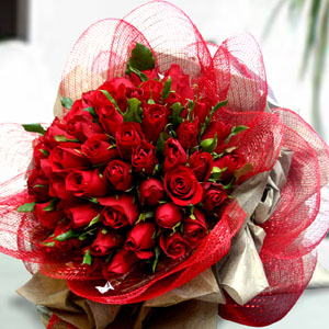 Bunch of 50 Red Roses in Net Packing