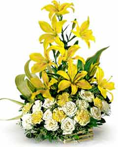 3 multibuds Lillium and 20 White & Yellow Roses in a Basket send-flower-Kamakshipalya