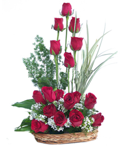 Basket of 18 Red Roses.send-flower-basavaraja-market