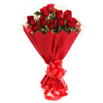 Bunch of 12 Red Roses in Paper Packingsend-flower-Shanthinagar