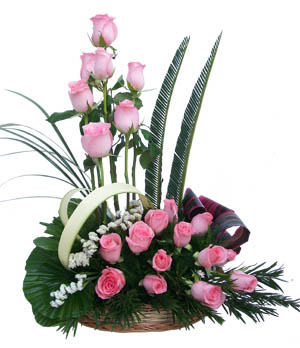 Arrangement of 20 Pink Rosessend-flower-Sadashivanagar