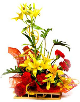 One Sided Arrangement of 3 Yellow Lilly & 15 Red Carnation. send-flower-Visveswarapuram