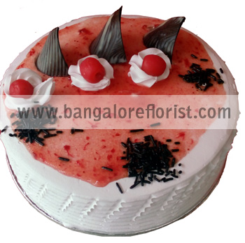 1 KG Eggless Strawberry Cakesend-flower-bommanahalli