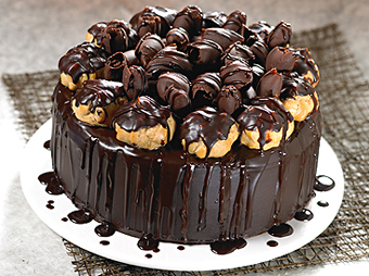 Chocolate Profitrol cake (Limited cities)send-flower-hebbal