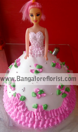 Barbie Doll Cakesend-flower-Shanthinagar