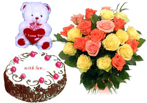 Bunch of 15 Mix Roses & 1/2KG Black Forest Cake & Small Teddy