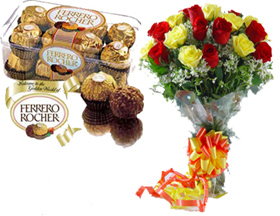 Bunch of 20 Red & Yellow & 16 Pcs Ferrero Rocher Chocolates.