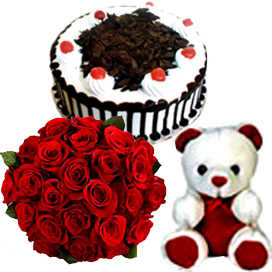 Bunch of 10 Red Roses & 1/2KG Black Forest Cake & Small Teddy send-flower-Subramanyapura