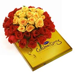 Bunch of 30 Red & Yellow Roses with Big Pack of Cadbury Celebrationsend-flower-bommanahalli