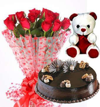 Teddy Bear with 1/2 kg Chocolate Truffle Cake & 10 Roses Bunch send-flower-bommanahalli