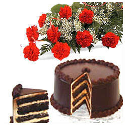 Bunch of 12 Red Carnation & 1/2KG Chocolate Cake