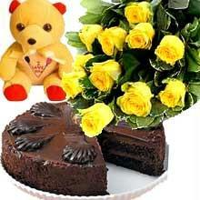 Bunch of 15 Yellow Roses & 1/2KG Chocolate Cake & Small Teddysend-flower-hebbal