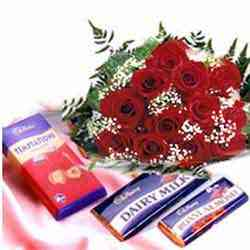 Bunch of 12 Red Roses & 10 Small Dairy Milk Chocolatessend-flower-basavaraja-market
