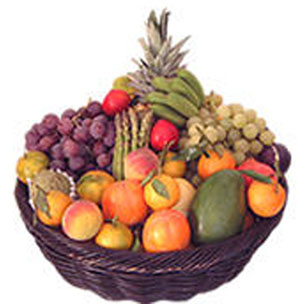 5 KGS of Mix Fruits in Basket.