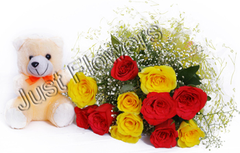 Bunch of 12 Red and Yellow Roses with Small Teddysend-flower-avalahalli