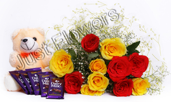 12 Red & Yellow Roses with Small Teddy & 5 Dairy Milk Smallsend-flower-Seshadripuram