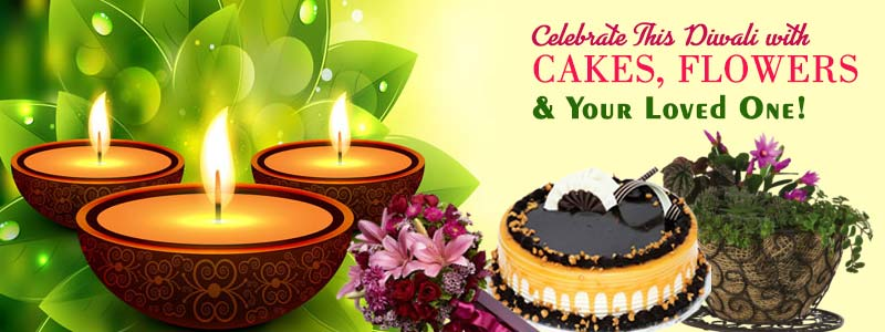 Enjoy Diwali with cakes and flowers